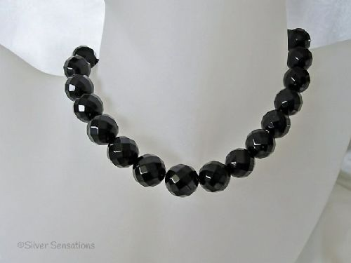 Chunky Faceted Black Onyx Bead Sterling Silver Necklace